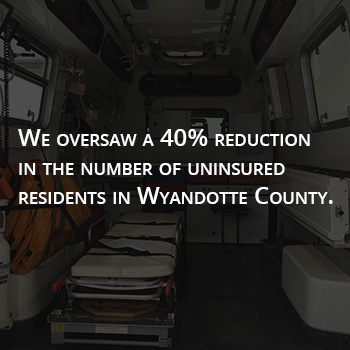 Graphic stating a 40% decrease in WyCo's uninsured rate.