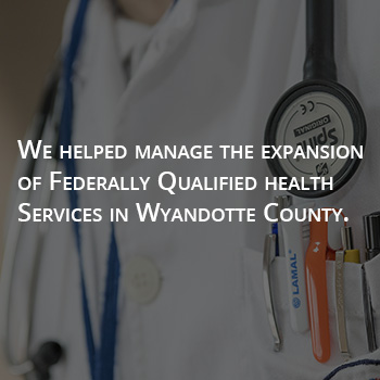 Graphic stating we helped manage the expansion of federally qualified health services in WyCo